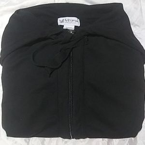 Short Sleeve Zip Up Hoodie - Black - Size: Large